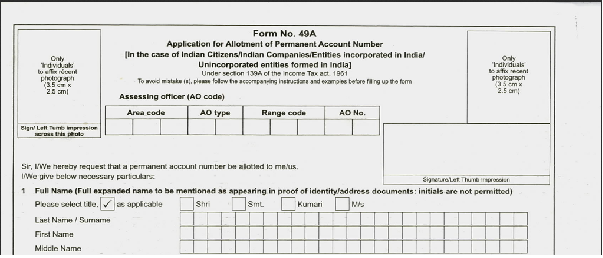 Form 49a: download new form 49a for pan card application.